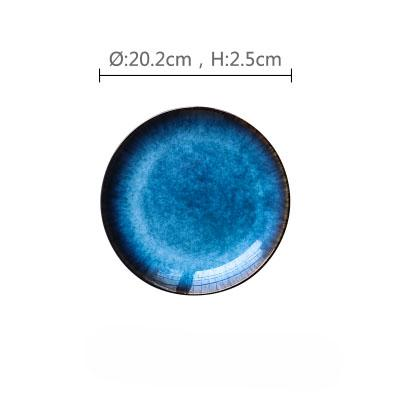 Sea Blue Glazed Flat Ceramic Plate - 8Inch - Plate