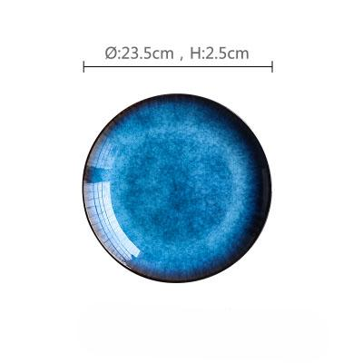 Sea Blue Glazed Flat Ceramic Plate - 9Inch - Plate