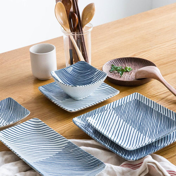 Japanese Diagonal Stripes Ceramic Plate - Plate