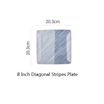 Japanese Diagonal Stripes Ceramic Plate - 8 Inch Plate - Plate