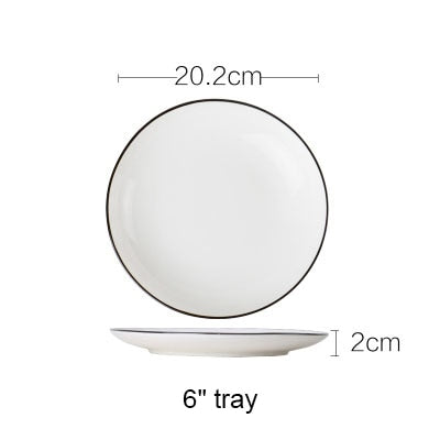 Basic Black Rimmed Ceramic Soup Plates