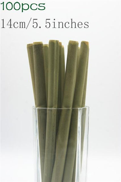 (100 Pcs/ Lot) 100% Natural Bamboo Drinking Straw - 14Cm 5.5Inch Straw - Other