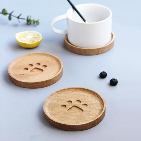 Cute Cat-Paw Wooden Coaster - Other
