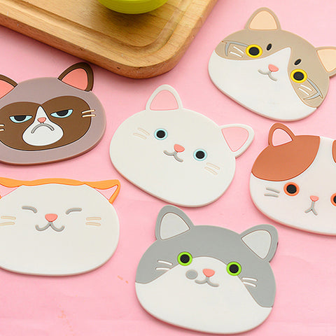 Cute Cat Pattern Silicone  Coaster