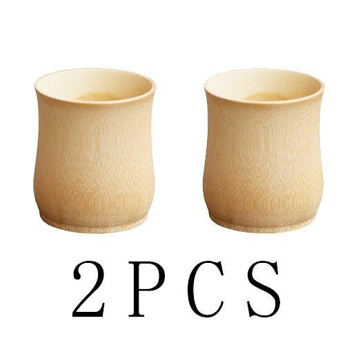 Traditional Bamboo Beige Color Cup - 2 Pieces / 150Ml - Cup & Mug