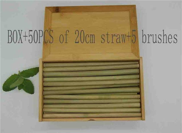 (100 Pcs/ Lot) 100% Natural Bamboo Drinking Straw - Box Add 50Pcs Straw - Other