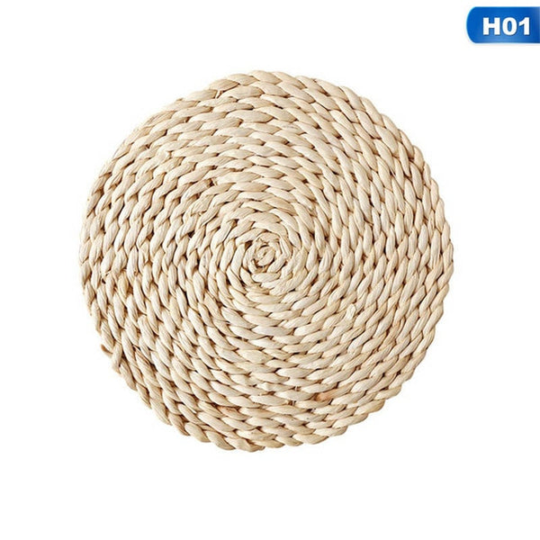 Creative Handmade Rattan Coasters Insulation Mat Straw Placemat Natural