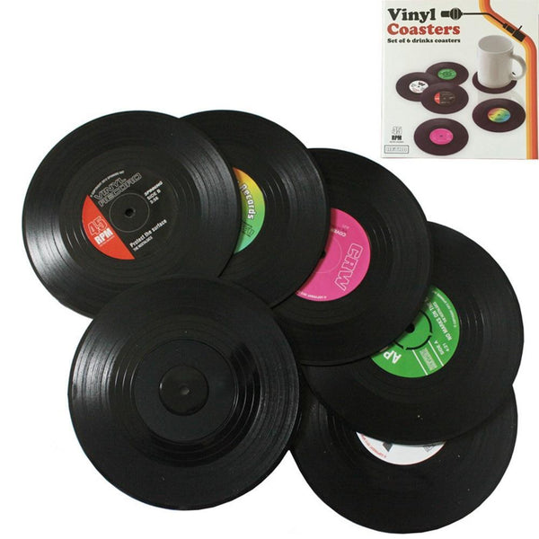 (2/4/6 PCS) Retro Vinyl CD Record Coaster