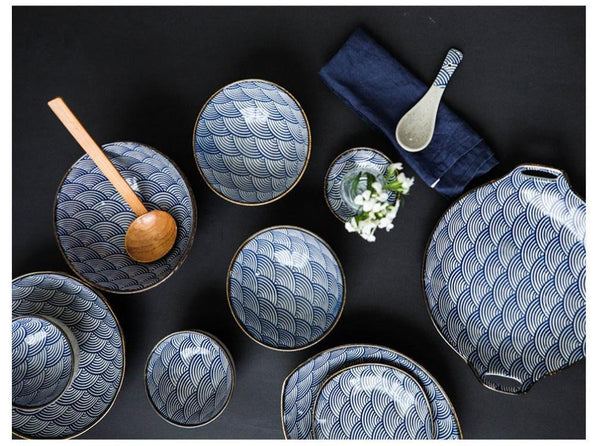 Underglaze Japanese Wave Pattern Collection
