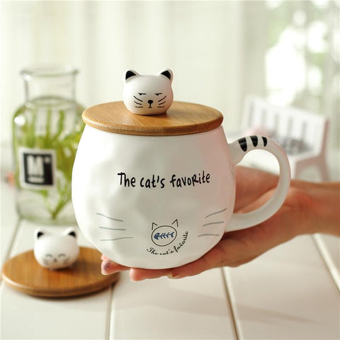 Cat Attitude Coffee Mug With Wooden Lid - Cup & Mug