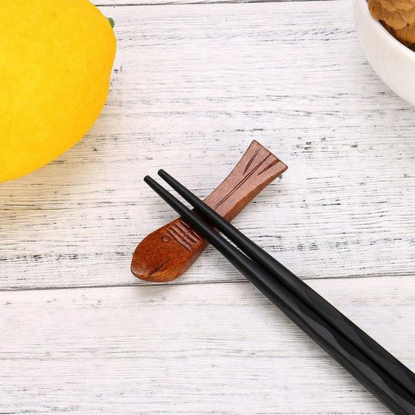 Japanese Style Wooden Chopstick Rest (1 Pc) - China / H - Other