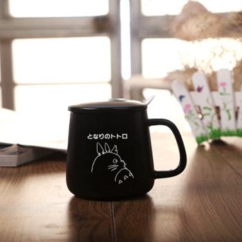 Totoro Black / White Ceramic Coffee Mug - Black Totoro / 301-400Ml - Cup & Mug