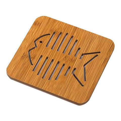 Cute Wooden Cup Coaster (Cat Fish Flower) - Big Fishbone - Other