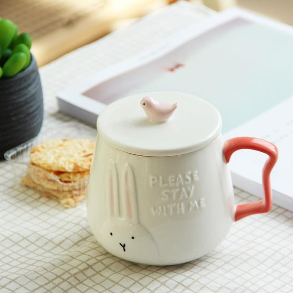 3D Animal Flamingo White Ceramic Coffee Mug With Lid - Cup & Mug