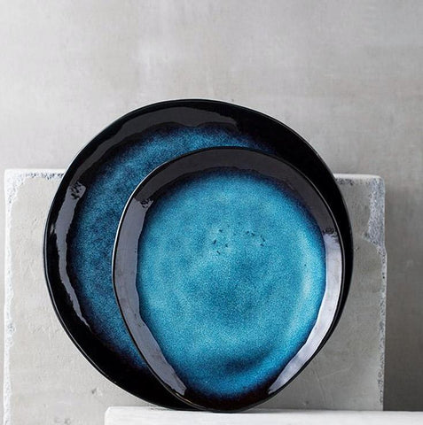 Deep Blue Glazed Japanese Style Ceramic Plate - Plate