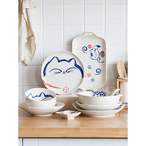 Japanese Design Happy Cat Face Ceramic Collection - Plate