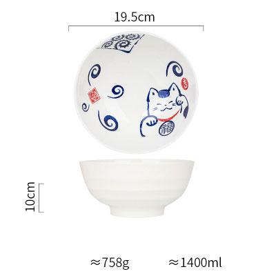 Japanese Design Chubby Cat Ii Ceramic Collection - E 7.7 Inch Soup Bowl - Plate
