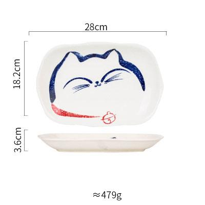 Japanese Design Happy Cat Face Ceramic Collection - T 10 Inch Plate - Plate