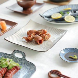 Japanese Style Brown Spiral Ceramic Plate - Plate