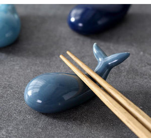 Ceramic Whale Chopsticks Rest Set - 4 Pcs Navy Blue - Other
