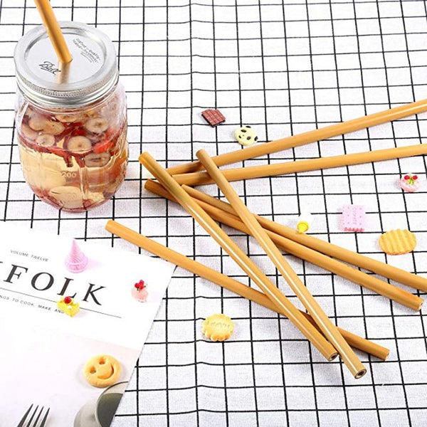 2Pcs/Set Natural Bamboo Straw Set