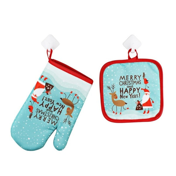 1 set Christmas theme Baking Anti-Hot Glove and Pad