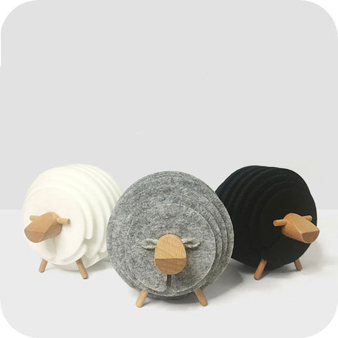 Handmade Sheep Shape Wood Felt Drink Coasters insulating Round Cup mat (Black)