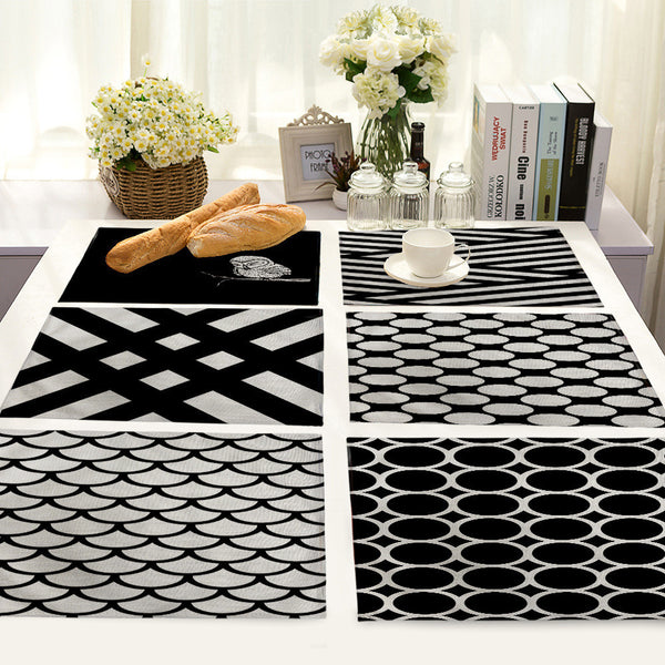 Black White  Linen Placemats