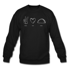 Peace Love Tacos Crewneck Sweatshirt Black - black