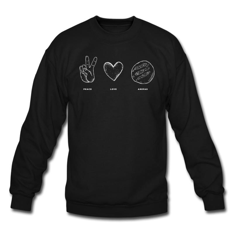 Peace Love Arepas Crewneck Sweatshirt Black - black