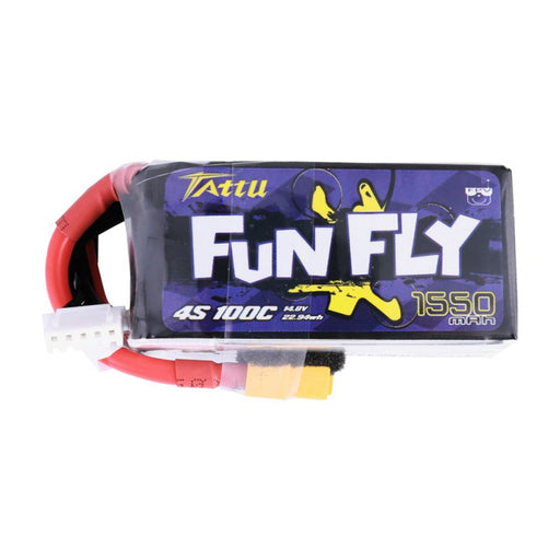 Tattu FunFly 1550mAh 100C 14.8V 4S1P lipo battery pack with XT60 Plug