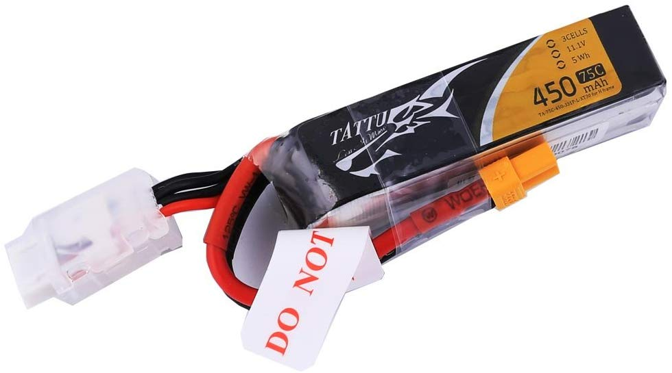 Tattu 450mAh 11.1V 75C 3S1P Lipo Battery Pack with XT30 Plug - Long Size for H Frame