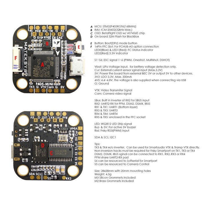 Matek F405-MINI Flight Controller w/ F405, 32k Gyro, BFOSD, 32M Flash