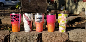 Custom stainless steel tumbler. Makes a great gift for yourself or others. Hogg, Yeti, Ozark Trail, Magellan. Customized, Personalized, made to order. Handmade. Glitter, Paint, Inks, Dyes, and Mica Powders. EPA Approved materials used.