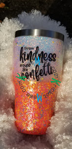 Sprinkle Kindness Coral White Confetti Holographic Opal Glitter Tumbler Stainless Steel Insulated