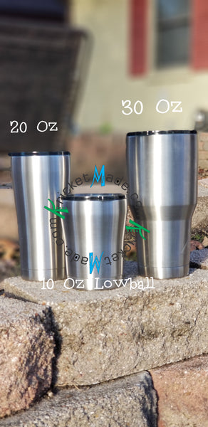 Mosaic Style Tumbler in Blue, Aqua and Silver Stainless Steel Insulated