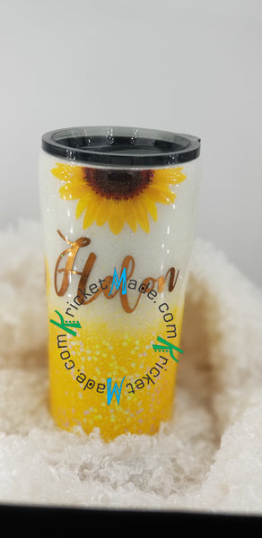 Sunflower Holographic Opal Glitter Tumbler Stainless Steel Insulated