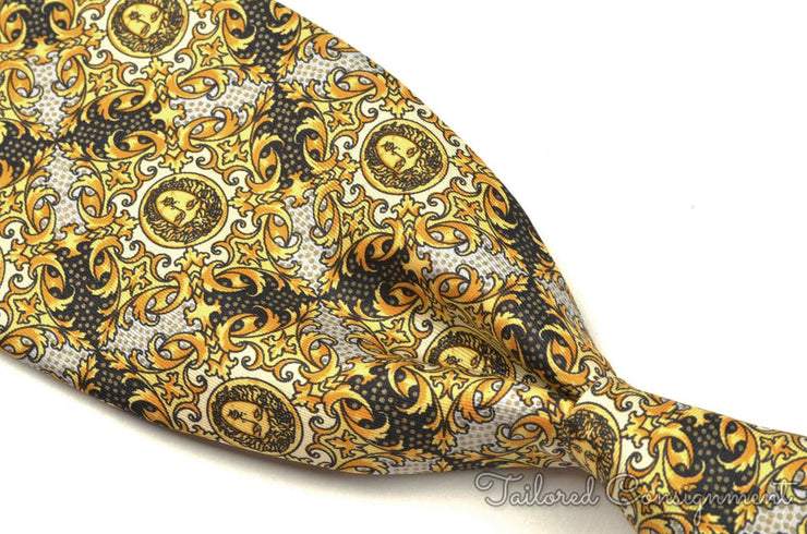 "Versace Tie (3.25"" - 3.75"" / Gold / Light Wear)"