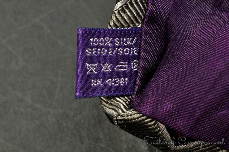 "Ralph Lauren Purple Label Tie (3.75""+ / Grey / Light Wear)"