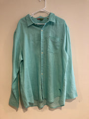 Tommy Bahama Dress Shirt (XXL / 18 / Green / Light Wear)