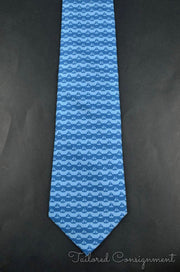 "Hermes Tie (3.25"" - 3.75"" / Blue / Light Wear)"