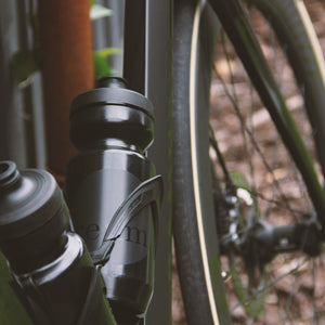 Two Relm Cycling bidons in black on bike