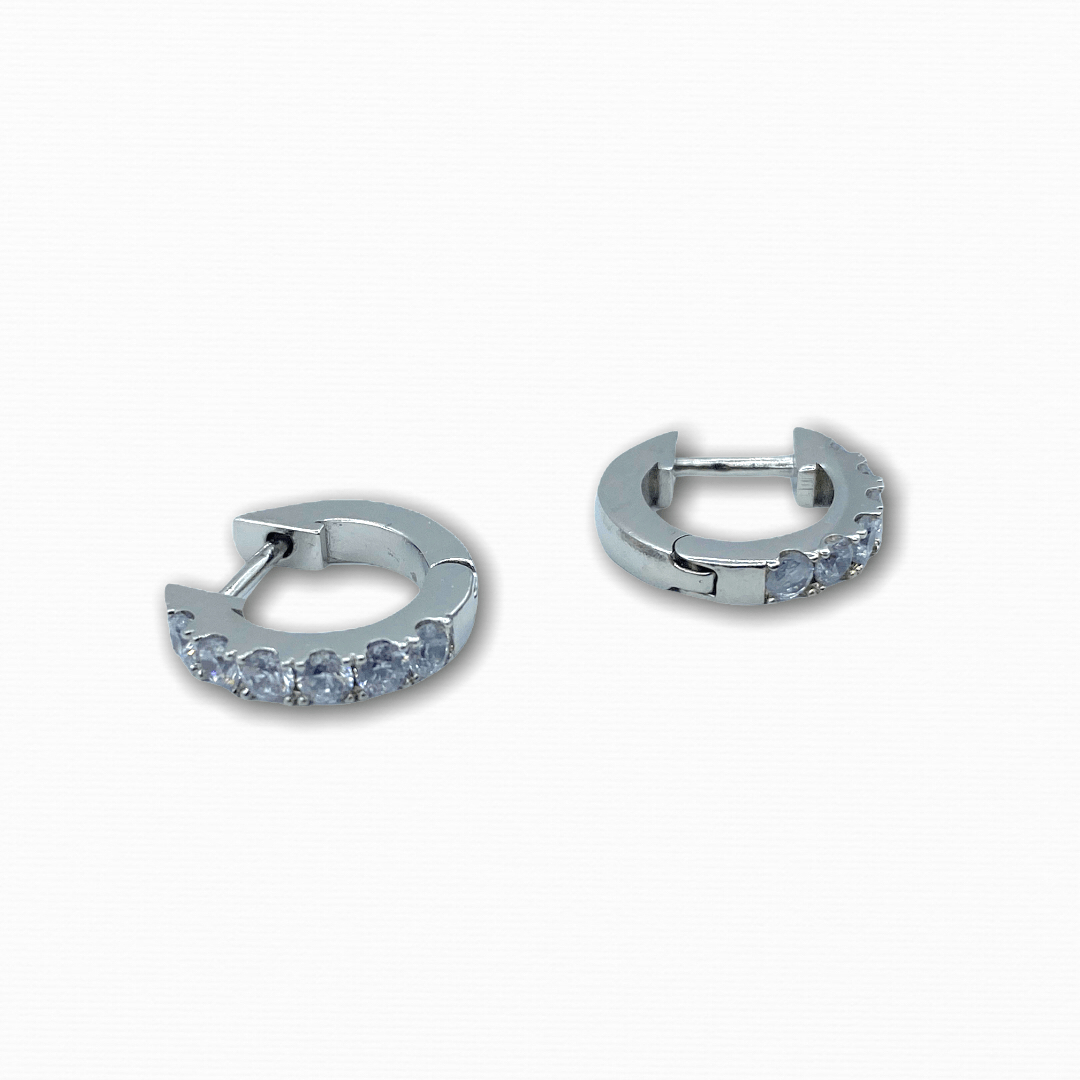 Thick Crystal Hoops 925 Silver - Ellevoke
