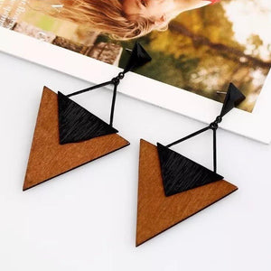 Triangle Wood Earrings - Ellevoke
