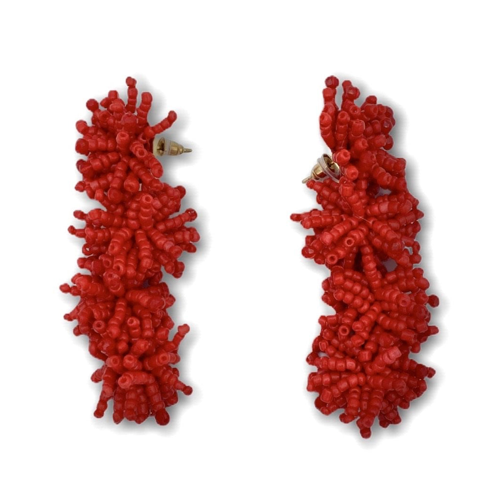 Beads Pompom Earrings - Ellevoke