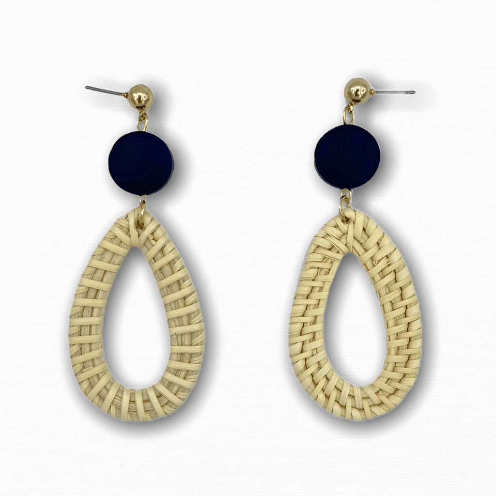 Rattan Drop Earrings Black Circle - Ellevoke