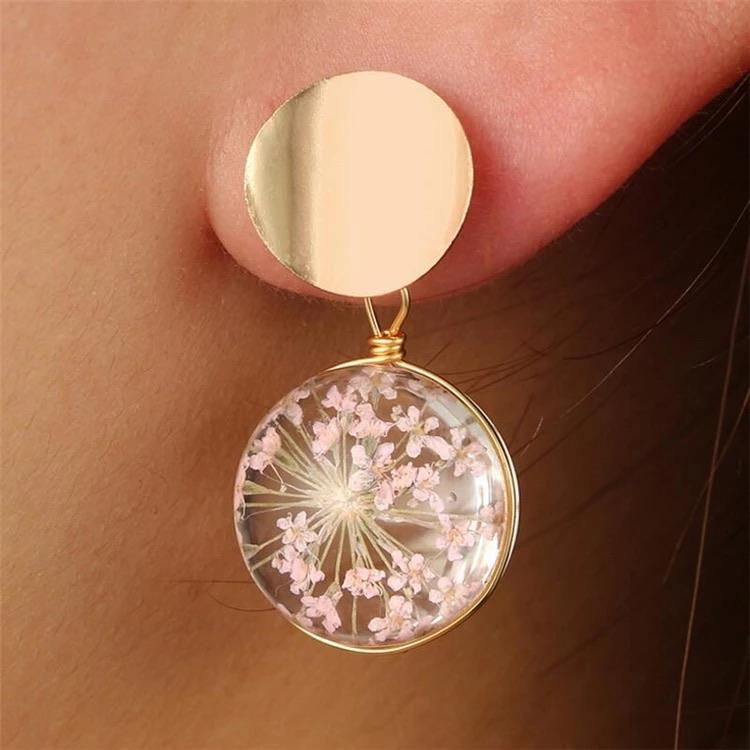 Round Glass Flower Earrings - Ellevoke