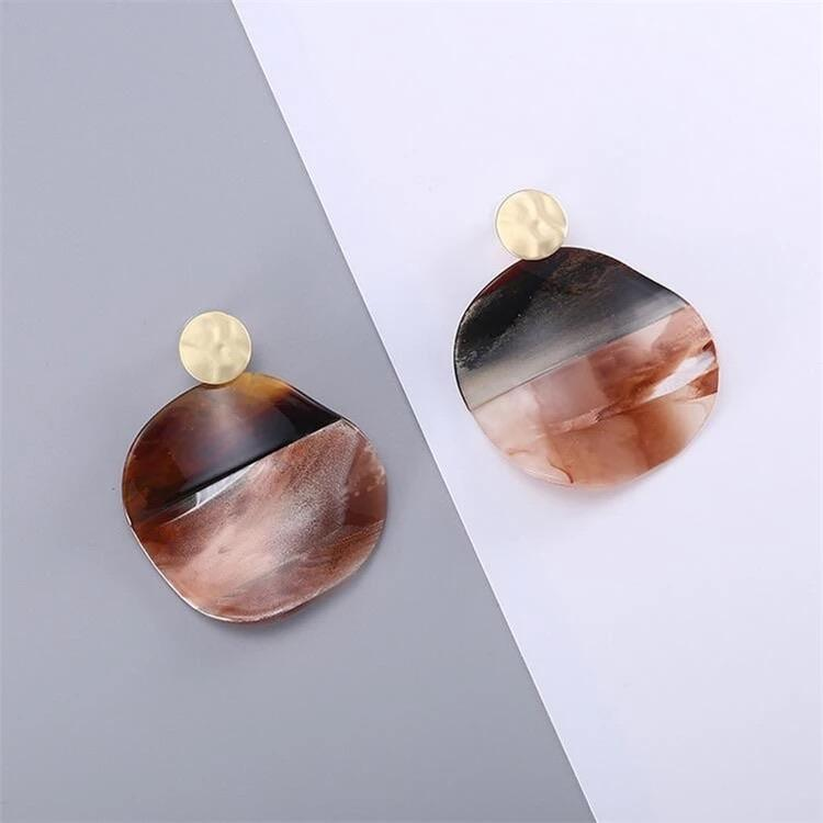 Big Organic Shaped Acetate Earrings - Ellevoke