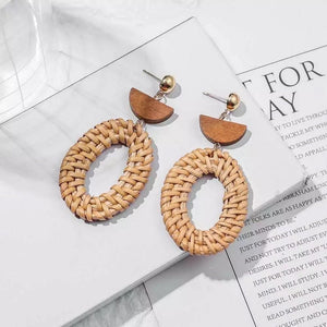 Rattan Earrings Oval - Ellevoke