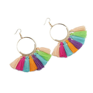 Circle Tassel Earrings - Ellevoke